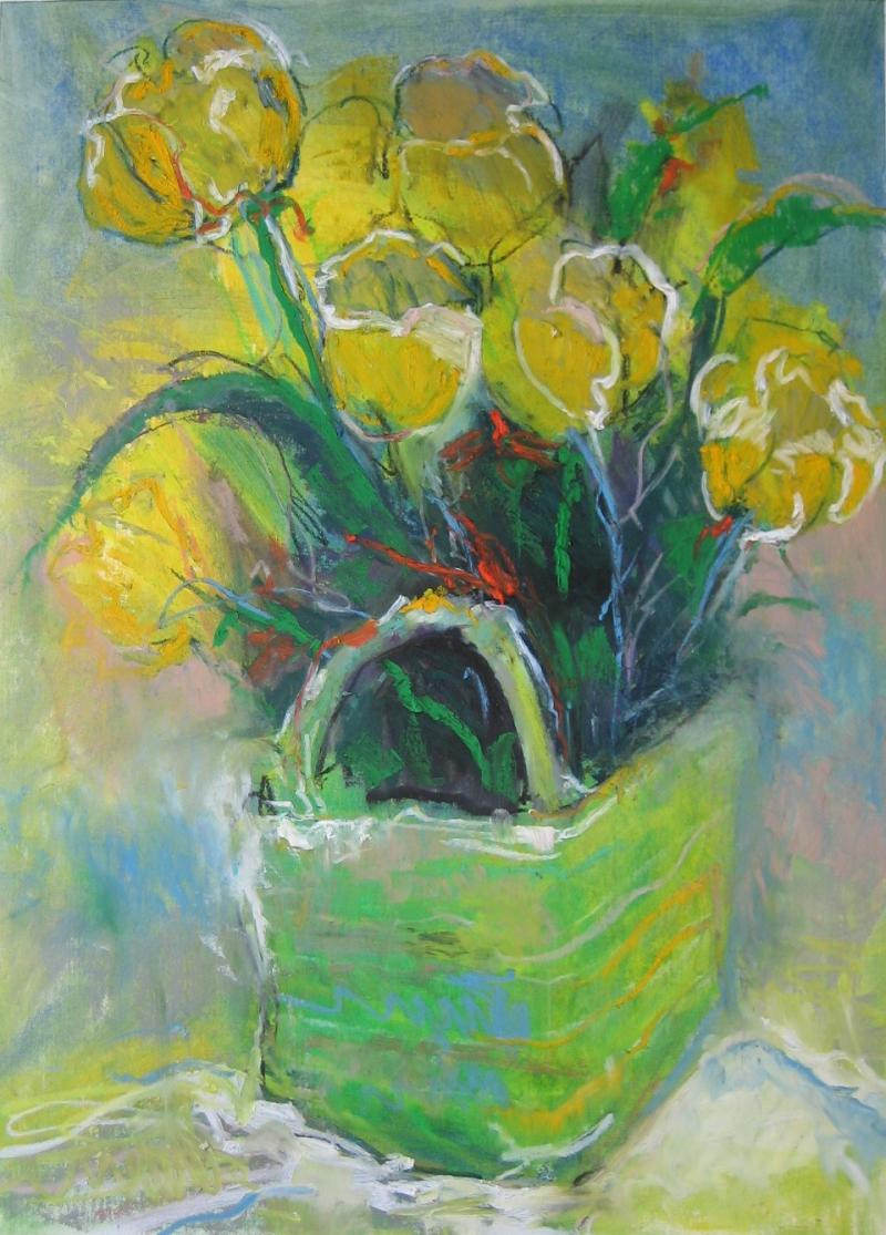 "©""Easter Tulips"", Oil Pastel, Framed, Available for Purchase"